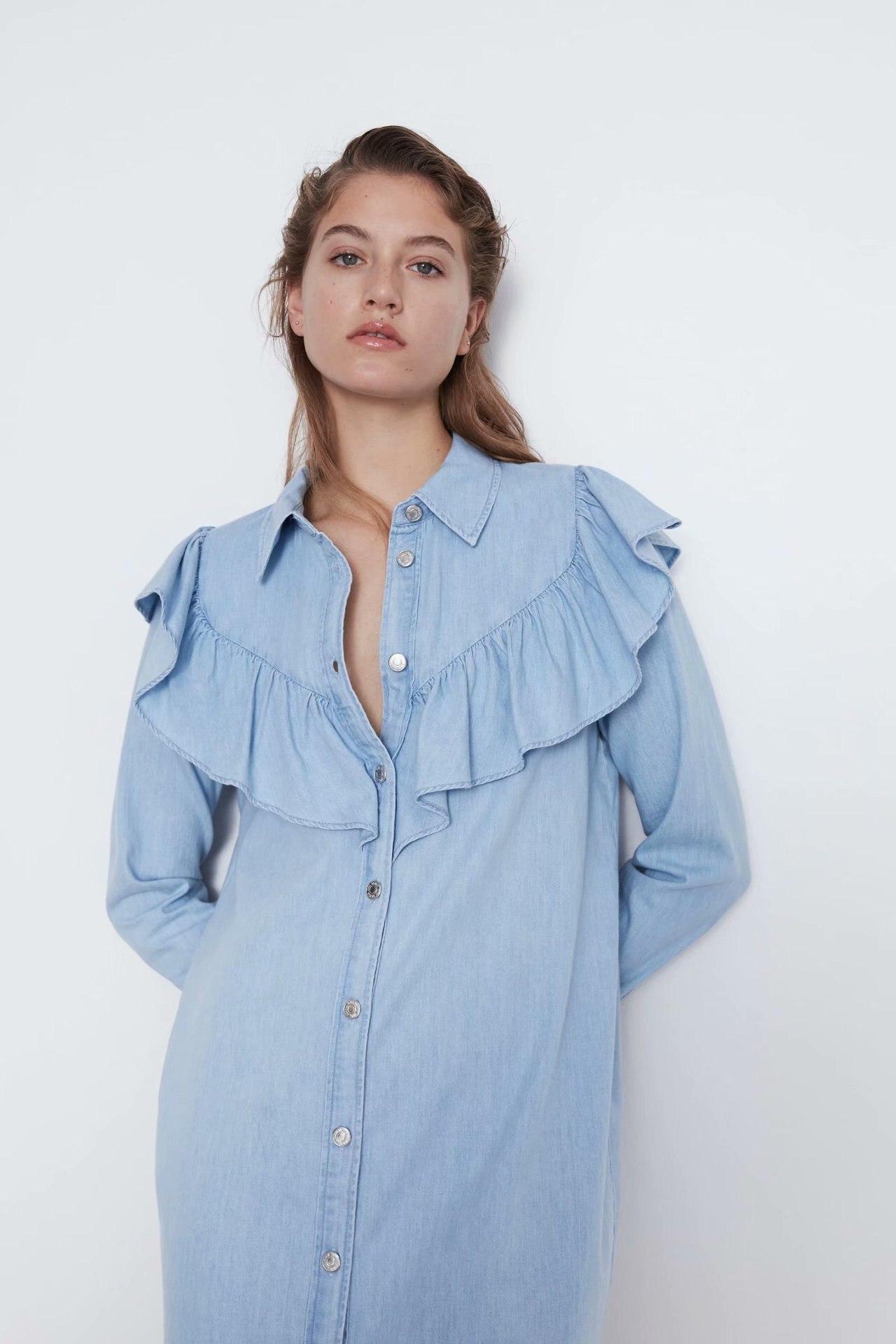 Женское джинсовое платье zaraing vadiming sheining, европейский стиль, весна-лето 2020, HJH2791