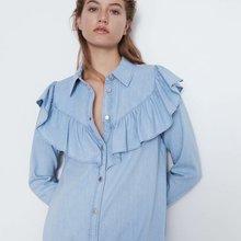 2020 new Spring Summer European streetwear female denim dress zaraing vadiming s