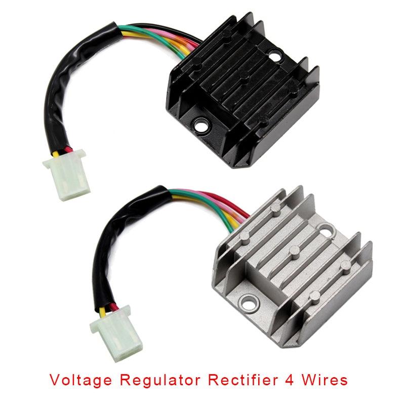 Voltage Stabilizer,Universal Rectifier Regulator 4 Wires Voltage ATV GY6 50 150cc Scooter Moped JCL NST Taotao Motorcycle Motor Bike 12V Voltage Regulator Rectifier 4 pin
