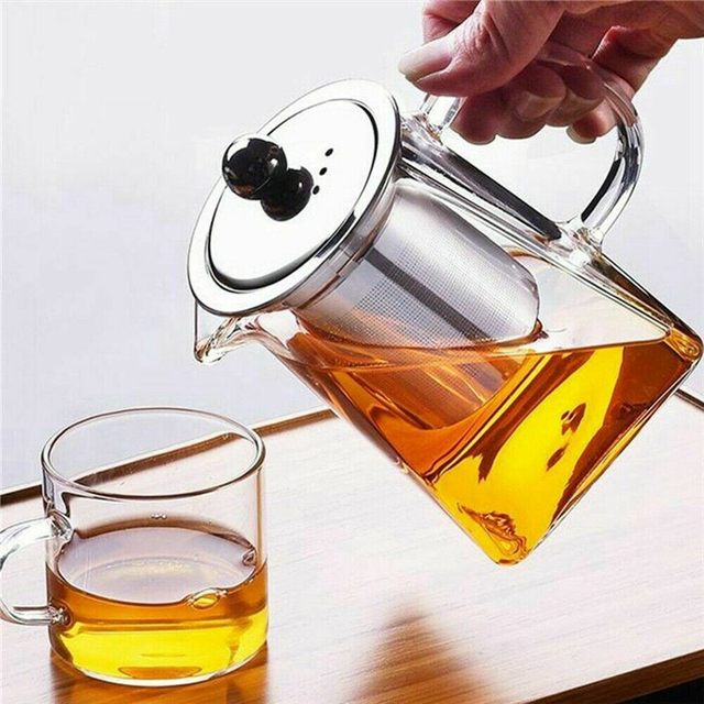 350-750ML Clear Heat Resistant Clear Glass Teapot Jug W Infuser Coffee Tea Leaf Herbal Pot Flower Teapot Milk Juice Container 2