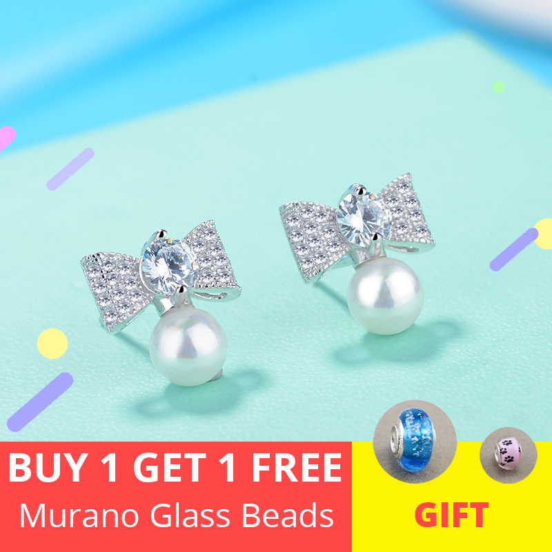 cubic zircone Korean cute crystal bowknot plated with sea pearl 925 sterling silver stud earrings for women jewelry gift