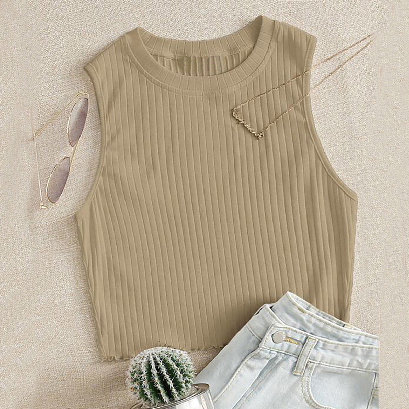 Summer Tops Wearing Crop-Top O-Neck Stripes Solid-Color Casual Sleeveless Blusas Daily