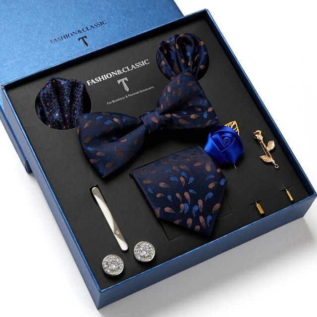 Gentlemen's Luxury Set - Bowtie Tie, Tie, Clips Lapel Pin, Hanky & Cufflink 1