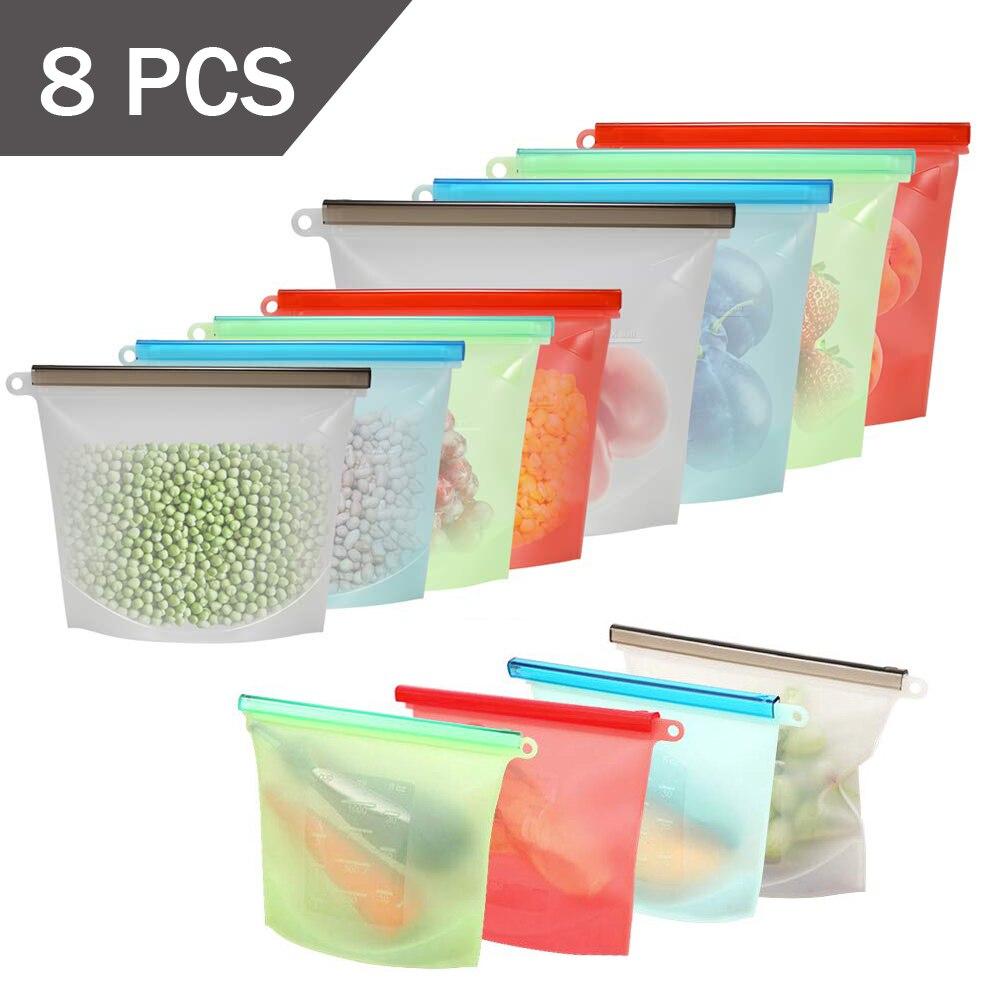1000ml 1500ml Reusable Silicone Storage Bag Silicone Food Storage Bags For Food Seal Ziplock Freezer Cooking Fresh Bags 8pcs Set Saran Wrap Plastic Bags Aliexpress