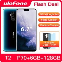 Перейти на Алиэкспресс и купить ulefone t2 smartphone android 9.0 6gb 128gb dual 4g cell phone nfc octa-core helio p70 4200mah 6.7дюйм. fhd+ mobile phone android