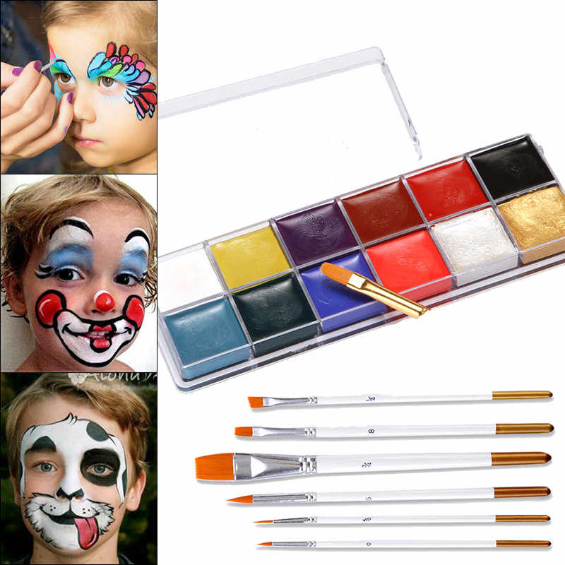 12 Colors Face Body Paint Oil Painting Make Up Set Kit