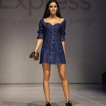 JYSS אנגליה אלגנטי כחול ג ינס המפלגה שמלה חצי שרוול מיני שמלות נשים slim סקסי ינס שמלה עם כפתור 82112