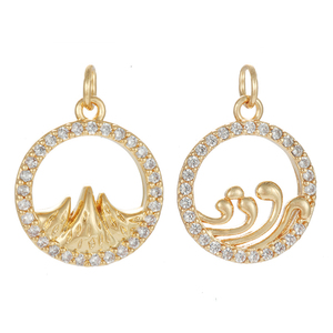 Swear To The Sea and The Mountains Charms for Jewelry Making Bulk Supplies Metal Gold Pendant Diy Earring Necklace Copper CZ