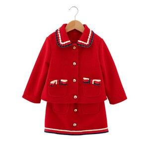 Mihkalev 2020 primavera outono crianças manga longa conjunto de roupas lã jaqueta + saia do bebê menina 2 peças outono roupas meninas agasalho