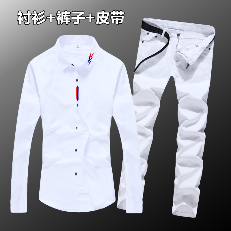 Halozeroo Men's Spring Autumn Long Shirt Cotton Blends Jeans Pants 2pcs Set Long Sleeve Shirts Trousers Casual Style Solid C32