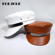 Модная женская шапка, кепка в стиле милитари, весенне-осенняя Кепка с плоским верхом, шапки-береты, молодежная Студенческая шляпа, винтажная Кепка Капитана Bone