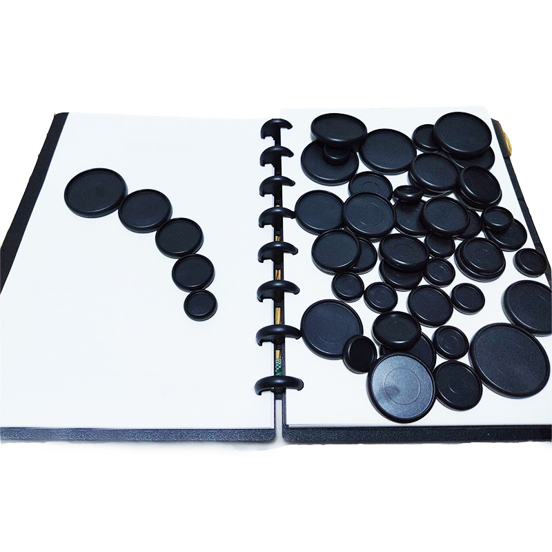 12Pcs Black Binding Discs Plastic Round Buttons Loose-leaf Coil Notebook Disc Arc T Mushroom Hole Binder Buckle Office Supplies