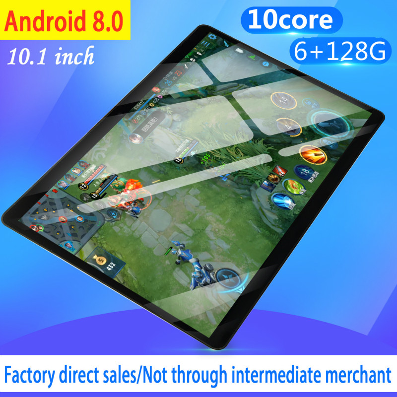 2019 New Design 10.1 Inch Android 8.0 Tablet Pc 6GB And 128GB Dual SIM Card 1280*800 HD Large Screen Dual Camera 10 Core Tablets