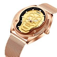 DIBEN 2019 Luxury Men Watches Classic Wrist Watch Skull Dial Male Clock Rose Golden Mesh Belt Waterproof Top Brand Zegarek Meski