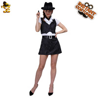 Adult Women Gangster Dress Costume Fancy Dress Black Stripe Gangster Outfits Lady's Gangster Halloween Costumes