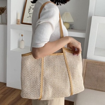 MABULA Straw Woven Tote Bag for Women Summer Handmade  Large 2 in1 Beach Shoulder Bag with Leather Handbag Purse bvlriga 2017 summer style womens straw weave woven shoulder tote shopping beach bag purse handbag straw beach bags travel brand