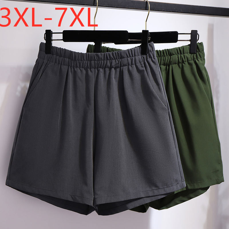 New 2020 Summer Plus Size Shorts For Women Large Loose Casual Wide Leg Pocket Shorts Gray Green 3XL 4XL 5XL 6XL 7XL