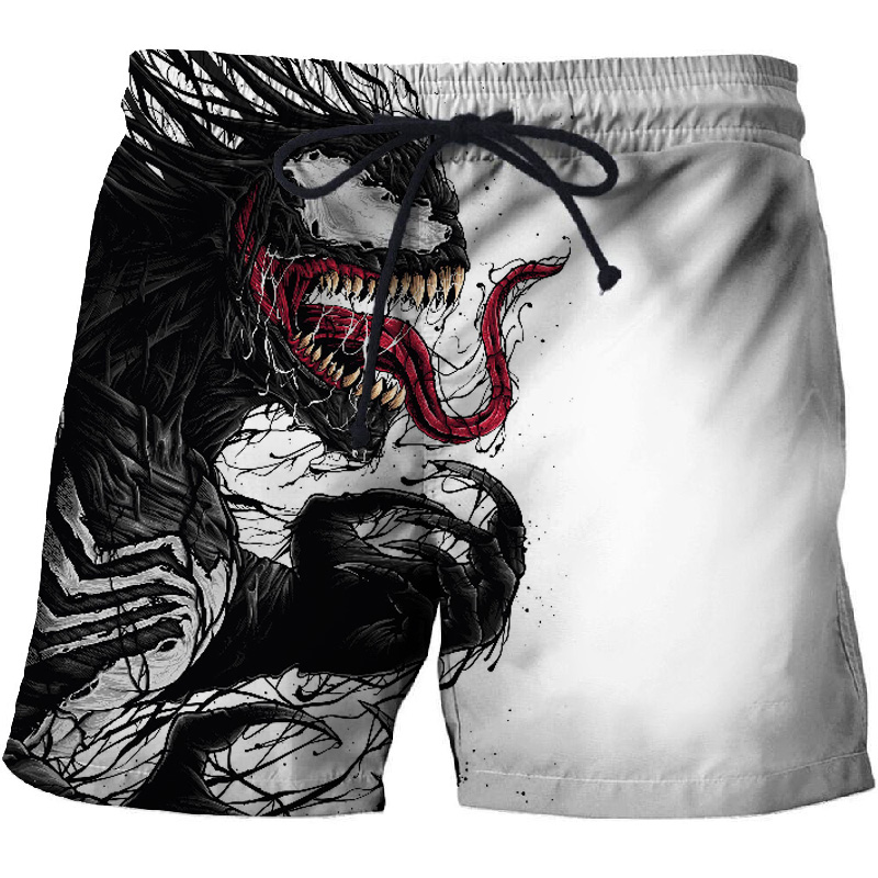 BIANYOLONG 2019 Men Shorts Men Beach Shorts Short Homme Spider Venom 3D Print Quick Dry Drawstring Boardshort Fitness Trouser