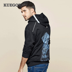 KUEGOU 2019 Autumn 100% Cotton Embroidery Print Hoodie Men Hoody Sweatshirt Hip Hop Japanese Streetwear Male Fashions Top 1741