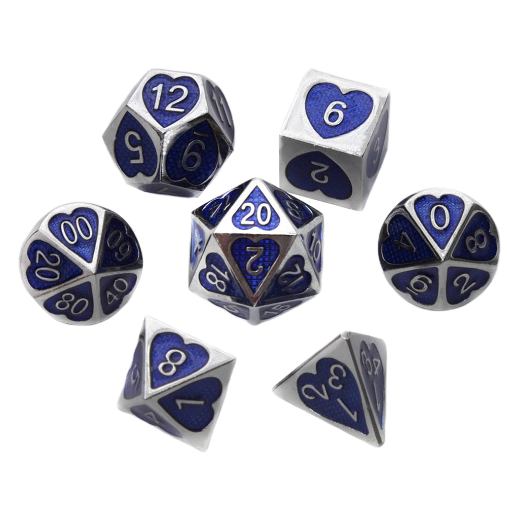 7pcs/set Solid <font><b>Metal</b></font> Multi Side Numeral D4 D6 D8 D10 D12 <font><b>D20</b></font> Board Game Dice Set for Party Casino Board Game image
