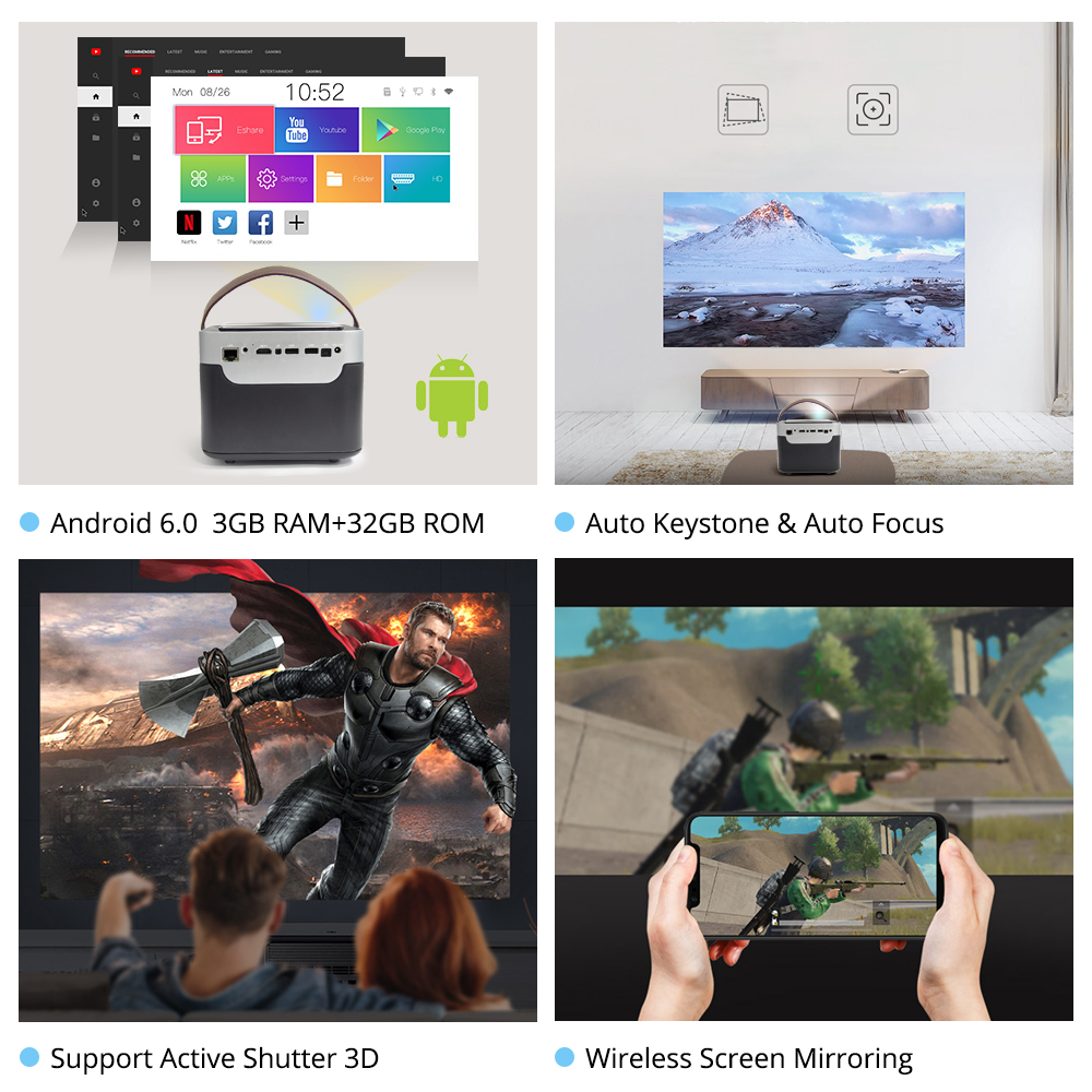 Image 3 - Everycom G7 DLP 1080P Projector Android 6.0 Wifi Bluetooth Active shutter 3D 3GB DDR4 32GB Home Theater Movie Portable Beamer-in LCD Projectors from Consumer Electronics