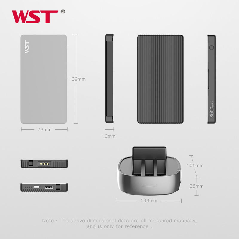 Image 2 - WST Portable Charger Station for Family Public Business 3PCS 8000mAh Power Bank with Built in Charging Cables Power bank Station-in Power Bank from Cellphones & Telecommunications