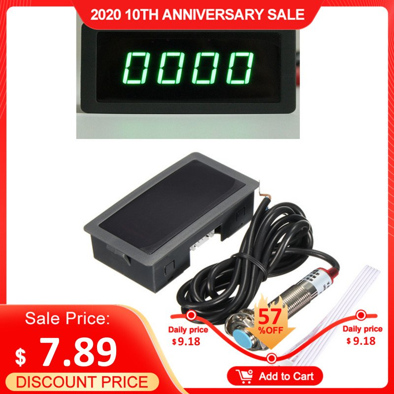 Tachometer 4 Digital Green LED Tach RPM Speed Meter With Hall Proximity Switch Sensor NPN 12V
