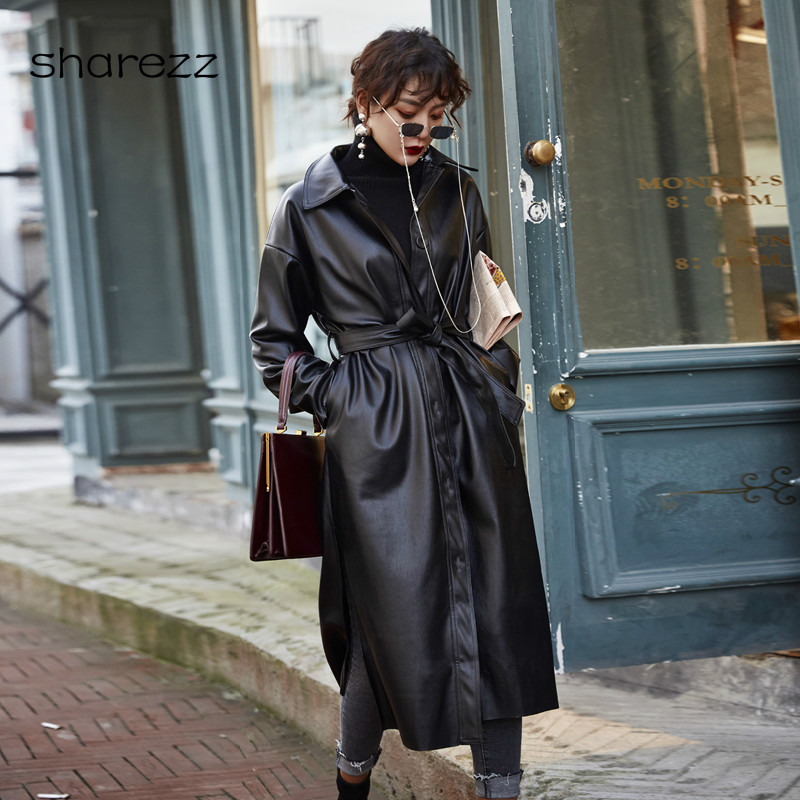 Womens Trench Coat PU Leather Windbreaker Single Breasted Lace Up Long Sleeve  Jacket Motorcycle    Autumn Winter