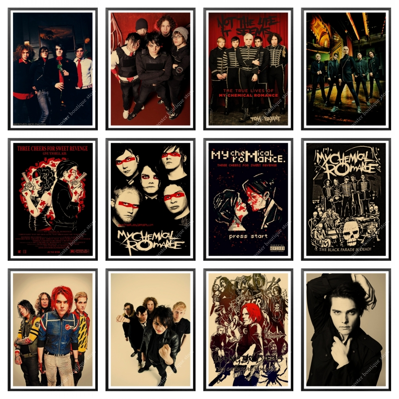 My Chemical Romance Band Classic Nostalgic Matte Kraft Paper Poster Office Gift Room Dining Home Decor Wall Sticker