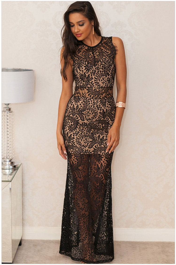 See Through O-neck Ankle-length Straight Sleeveless Lace Long Evening Prom Party Gown Elegant Formal Mother Of The Bride Dresses