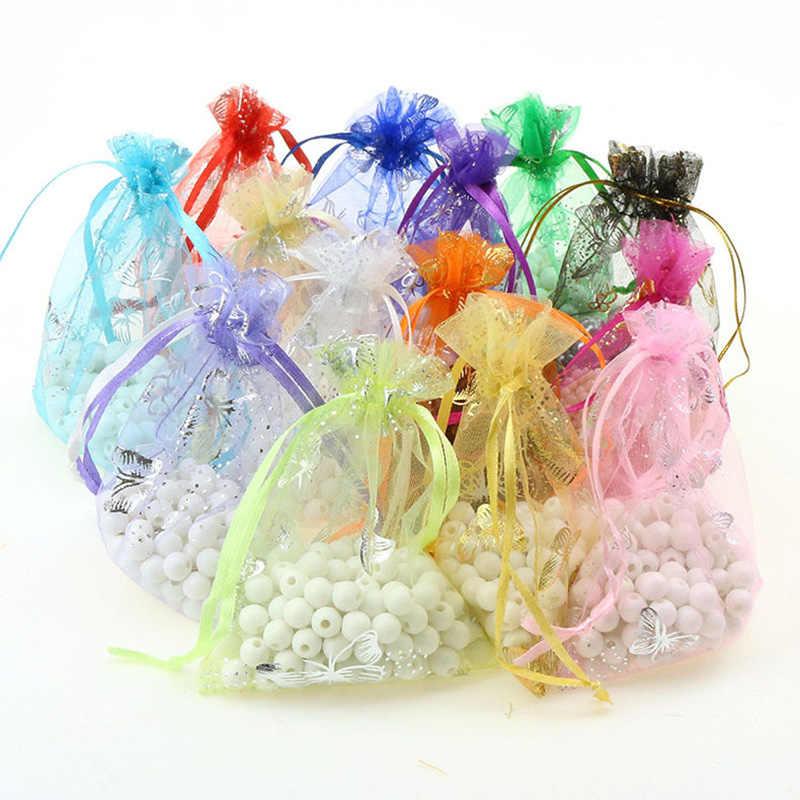 100pcs כסף פרפר אורגנזה תיק מסיבת חתונת סוכריות שקיות תכשיטי אריזת שרוך שקיות אביזרי אחסון תיק