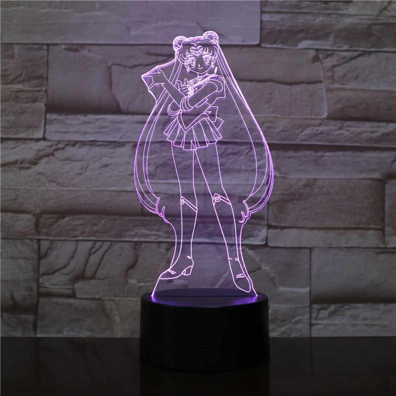 Luz de noche LED 3D USB figura de sukino Usagi regalos para niños y bebés para niñas, dibujos japoneses, Sailor Moon, lámpara de mesa, mesita de noche