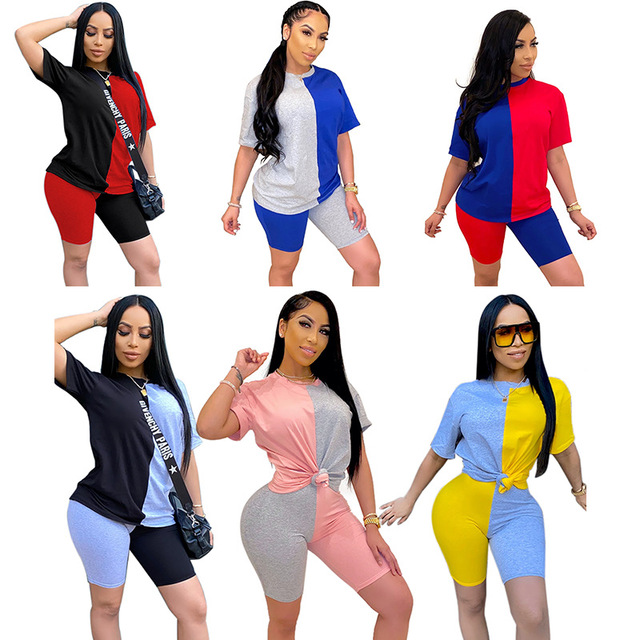 2020 Women Sets Summer Tracksuits Patchwork Sportswear Tops + Shorts Two Piece Suit Set Club Party Street 2 Pieces Sexy Outfits 1