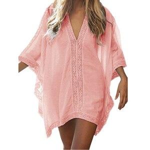 New Summer Women Cover Up Sexy Beach Cover Ups Swimsuit Bikini Chiffon Short Dress Gold Beach thing Suit tunic Swimwear#Y7