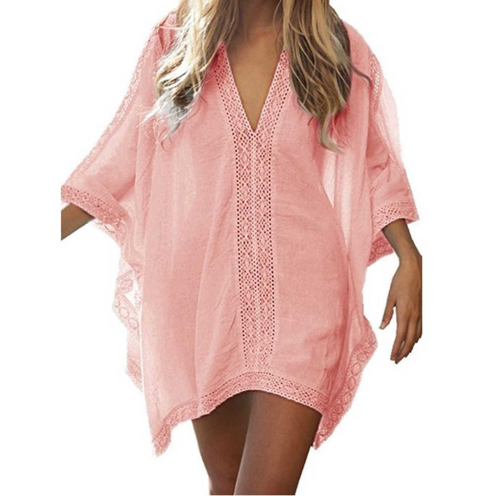 새로운 여름 여성 커버 섹시한 해변 커버 업 수영복 비키니 쉬폰 짧은 드레스 골드 비치 thing 정장 튜닉 수영복 # Y7