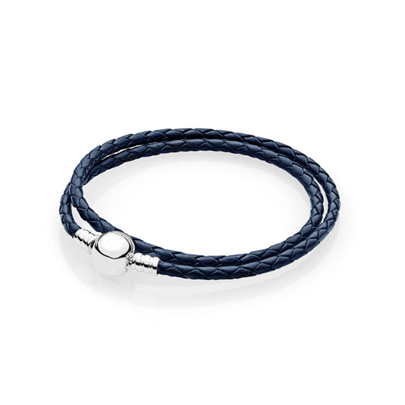 Dark Blue Leather Bracelet Men 925 Sterling Silver Round Clasp Women's Bracelet Fashion DIY Charm Bracelet Homme Jewellery Gift