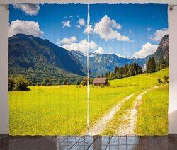 Natura zasłony Julian Alps dolina górska wiejska z drewnianym domek na wsi raj obraz salon okno sypialni zasłony