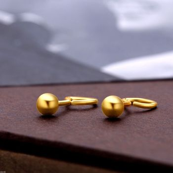 New Solid Pure 24Kt Yellow Gold Earrings Women Smooth Ball Stud  1-1.5g Ball:3.5-4mm - sale item Fine Jewelry