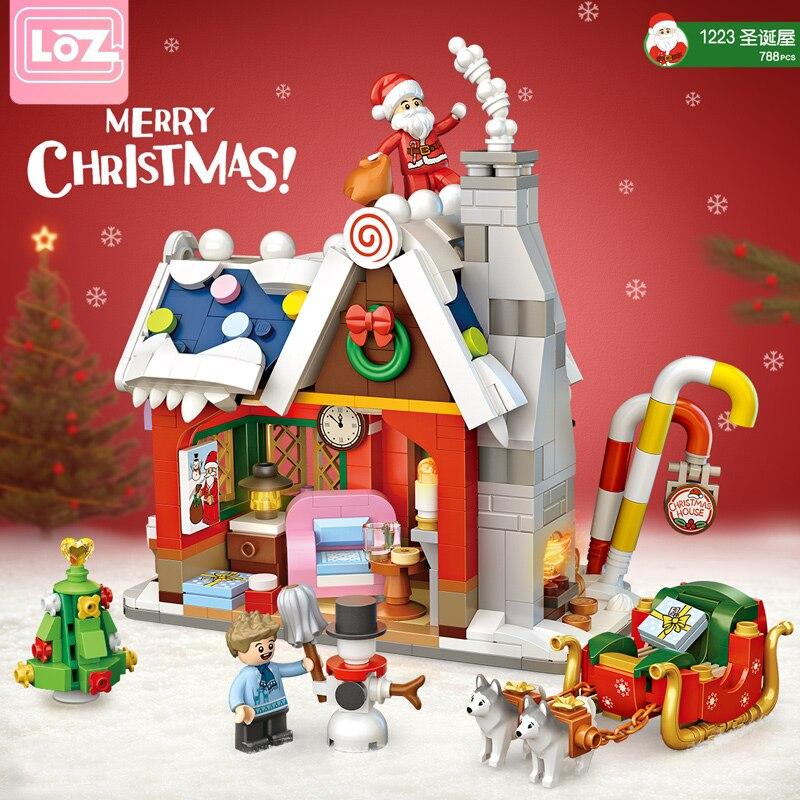 Loz 1223 Алмазная мини-улица, строительные блоки, рождественская елка, Санта-Клаус, девочка, друзья, город, кирпичи, игрушки, подарок на Рождеств...