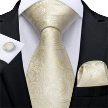 Men Tie Yellow White Paisley Wedding For Hanky Cufflink Silk Set DiBanGu Designer Party Business Fashion MJ-7253
