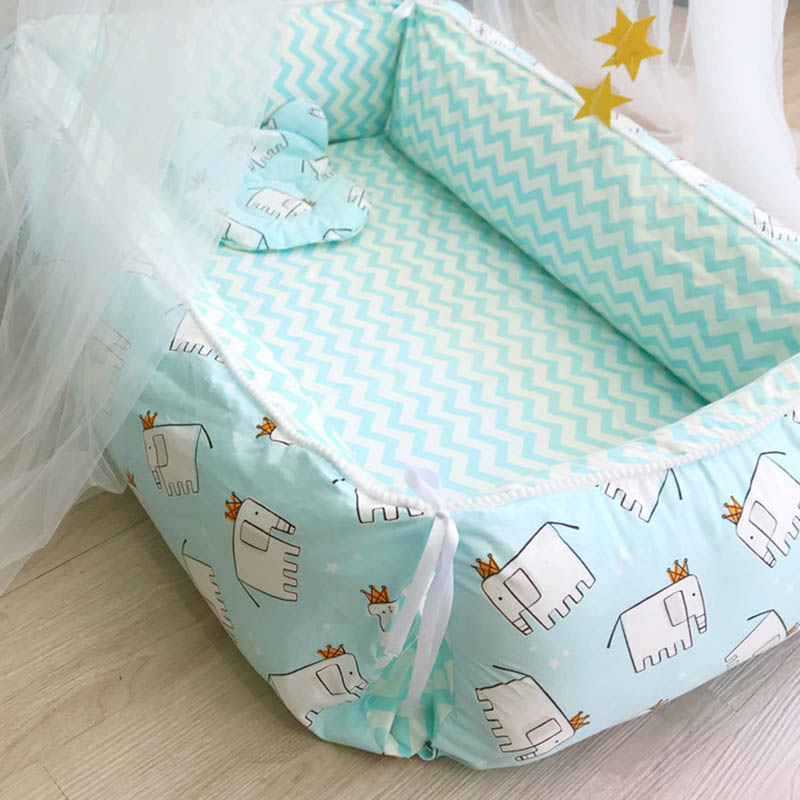 Portable Crib Baby Bed Newborn Infant Nest Bed Cushion Cradle Travel Removable Foldable Toddler Sleeping Bed 3pcs/set BXX027