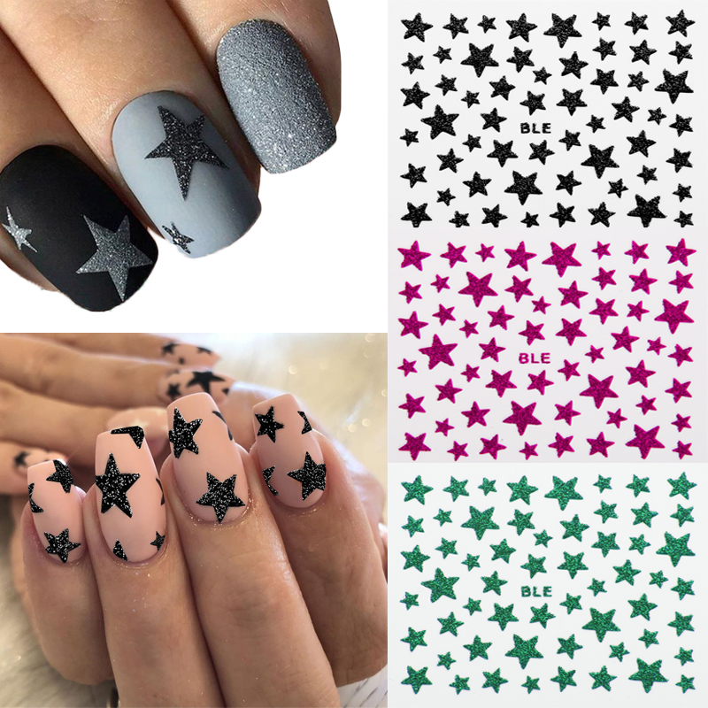 1 Sheet 3D Nail Slider Star Stickers Glitter Shiny Decoration Decal DIY Transfer Adhesive Colorful Nail Art Tips Tattoo Manicure