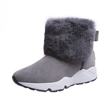 SWYIVY PU שלג נעלי טריז נעלי אישה חורף מגפי 2019 חם מקרית להחליק על נעלי נשים קרסול מגפי נשים נעלי פלטפורמה