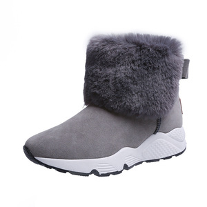 Image 1 - SWYIVY PU Snow Booties Wedge Shoes Woman Winter Boots 2019 Warm Casual Slip On Ladies Shoe Ankle Boots For Women Shoes Platform