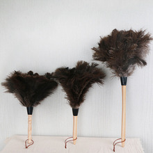 Feather Fur Brush Duster Dust Cleaning Tool Wooden Handle Anti-static Soft For Home