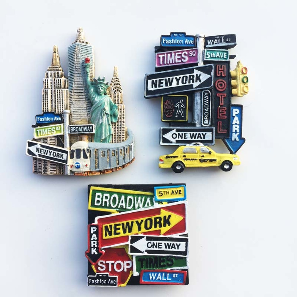 3PCS/lot High-end USA New York City Statue of Liberty Fridge Magnet Souvenir Road Sign Refrigerator Magnets Decor Craft image
