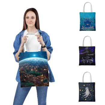 цена на Fashion Design Tote Bags For Women Painting Girls Printed Casual Tote Canvas Beach Bag Ladies Shoulder Bag Reusable Shopping Bag