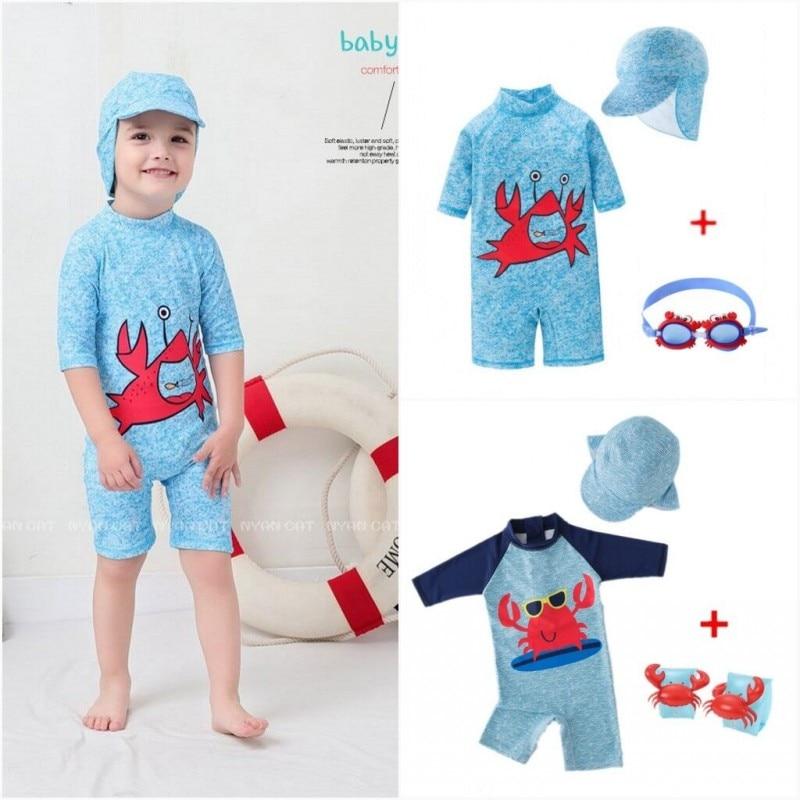 2020 Baby boys Swimwear Crab Surf Swimsuit Bathing Suit UV Protect Infant Goggles Baby Swimwear Kids UV Protection