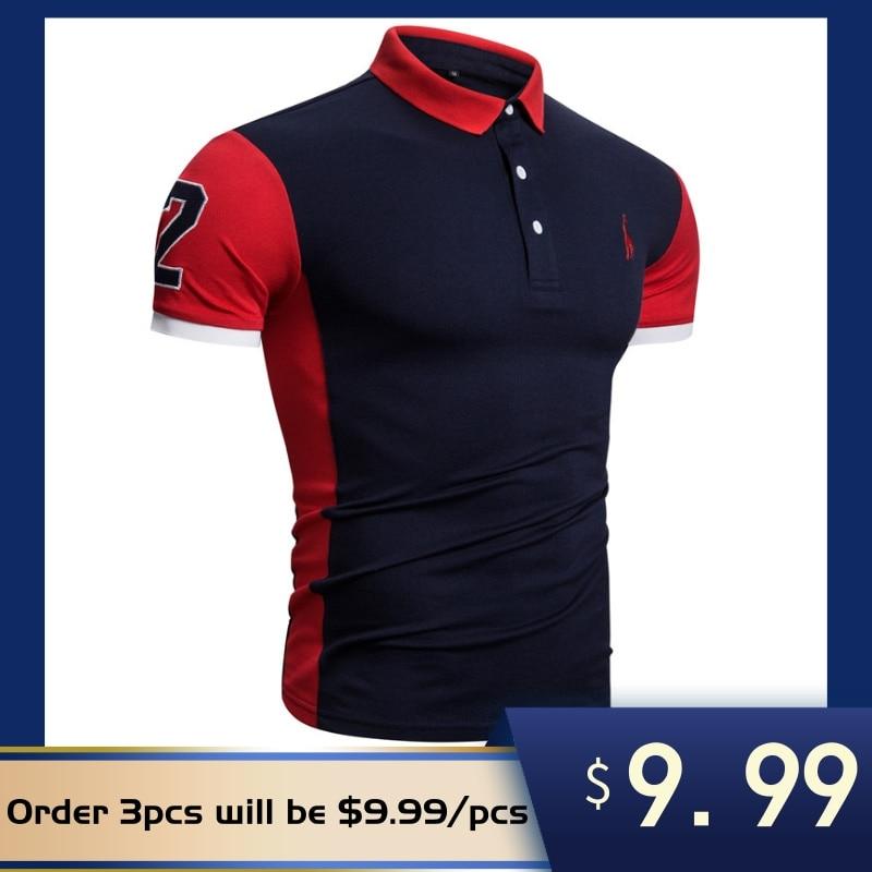 2020 New Summer Cotton POLO Shirt Men Giraffe Brand Embroidery Polo Shirt Men High Quality Short Sleeve England Style Mens PolosPolo   -