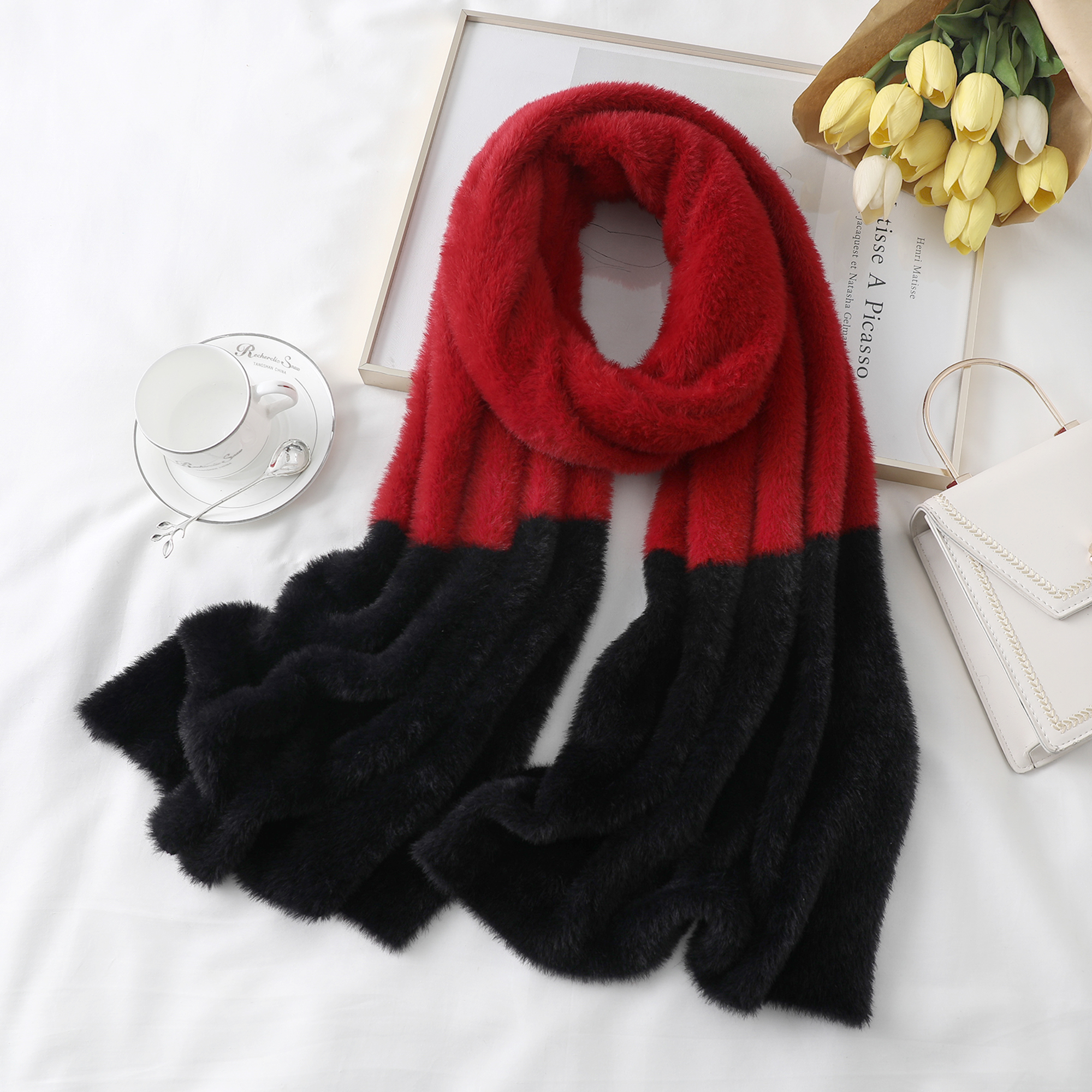 Solid Furry Scarf Female Autumn And Winter Imitation Mink Cashmere Scarves Long Shawl Wrap Knitted Mink Cape  Fashion Fur Scarf